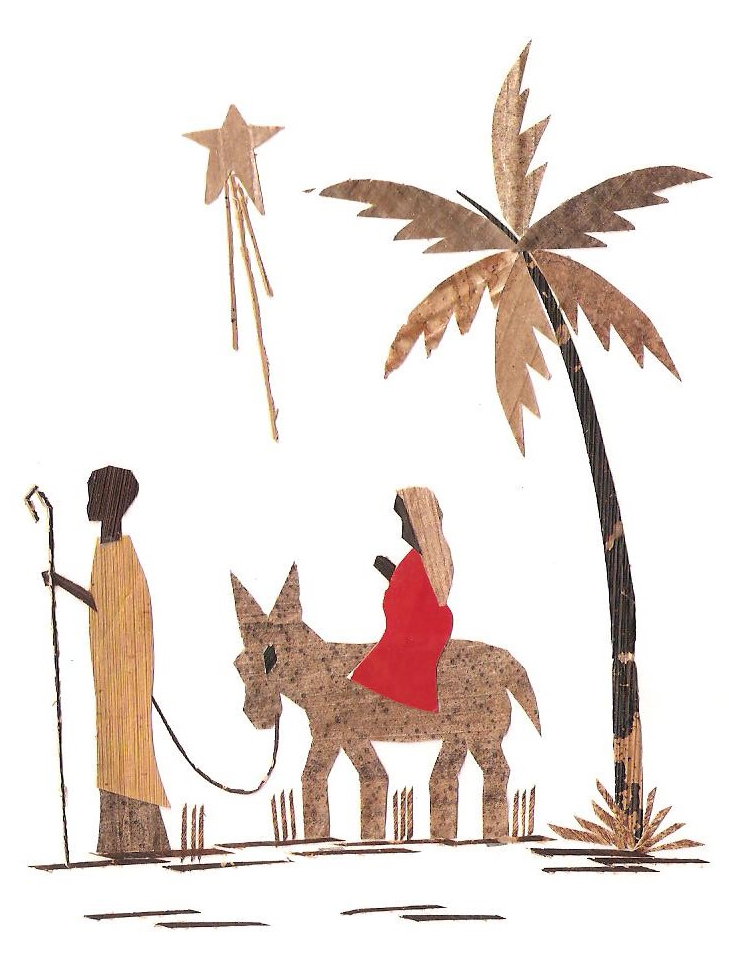 Drawing with Maria and Joseph; on the right is a palm tree